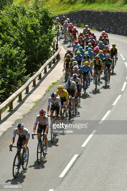 Jonathan Castroviejo of Spain and Team Sky / Michal Kwiatkowski of Poland and Team Sky / Geraint Thomas of Great Britain and Team Sky Yellow Leader...