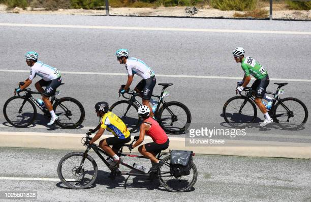 Jonathan Castroviejo of Spain and Team Sky / Michal Kwiatkowski of Poland and Team Sky Green Points Jersey / Pavel Sivakov of Russia and Team Sky /...