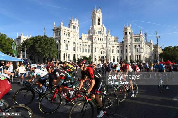 Jonathan Castroviejo of Spain and Team Sky / Richie Porte of Australia and BMC Racing Team / Adam Yates of Great Britain and Team MitcheltonScott /...