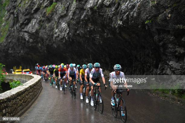 Jonathan Castroviejo of Spain and Team Sky / Tao Geoghegan Hart of Great Britain and Team Sky / Gianni Moscon of Italy and Team Sky White Best Young...