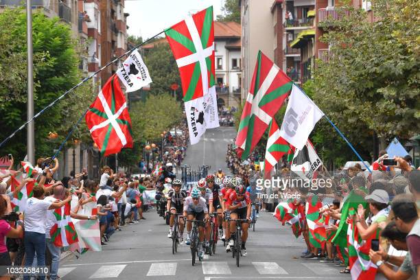 Jonathan Castroviejo of Spain and Team Sky / Thomas De Gendt of Belgium and Team Lotto Soudal / Jai Hindley of Australia and Team Sunweb / Getxo City...