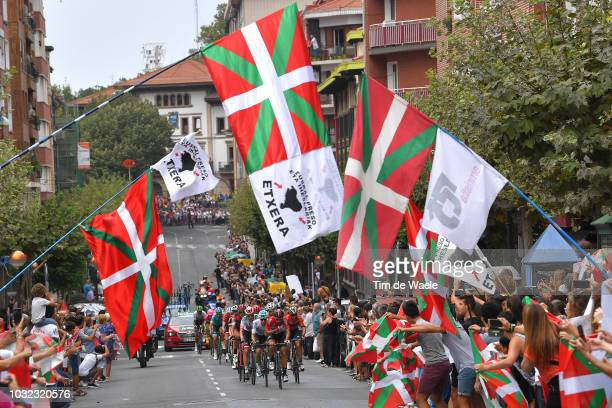 Jonathan Castroviejo of Spain and Team Sky / Thomas De Gendt of Belgium and Team Lotto Soudal / Basque Fans / Flags / Public / during the 73rd Tour...