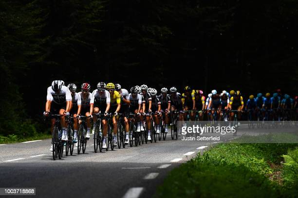 Jonathan Castroviejo of Spain / Michal Kwiatkowski of Poland / Geraint Thomas of Great Britain Yellow Leader Jersey / Christopher Froome of Great...