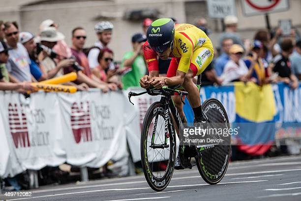 Jonathan Castroviejo riding for the Spanish National Team riding in todays time trial at the UCI Road World Championships on September 23, 2015 in...