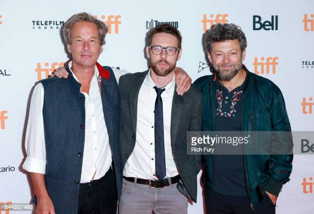 Jonathan Cavendish David Bruckner and Andy Serkis attend The Ritual premiere during the 2017 Toronto International Film Festival at Ryerson Theatre...