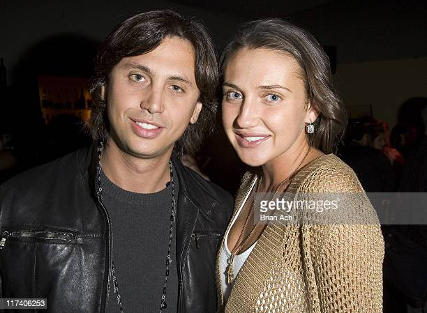 Jonathan Cheban and Anna Anisimova during Cirque du Soleil's DELIRIUM at Tupelo Grill in New York City New York United States
