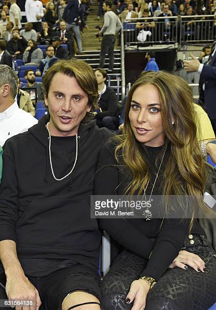 Jonathan Cheban and Chloe Green sit courtside at the NBA Global Game London 2017 basketball game between the Indiana Pacers and Denver Nuggets at The...