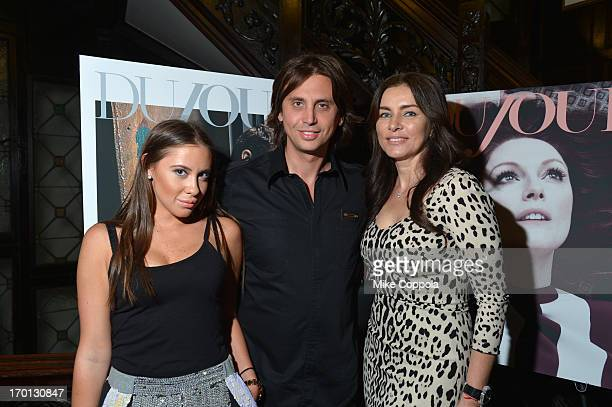 Jonathan Cheban Olga Kroutoi and Anat Popovsky attend Jason Binn and DuJour Magazine's Celebration for Matthew Morrison at the Friars Club on June 6...