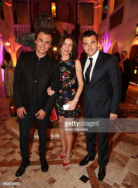 Jonathan Cheban, Olga Krutaya and Emin Agalarov attends New Years Eve And Birthday Party For Irina Agalarova at Barton G on December 31, 2014 in...