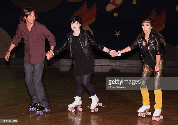 Jonathan Cheban reality television personality Kim Kardashian and Kelly Osbourne attend a party launching Pepsi Throwback at World on Wheels on April...