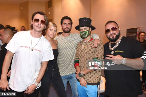 Jonathan Cheban Sofia Richie Scott Disick Alec Monopoly and David Einhorn attend Haute Living's VIP PopUp opening of Alec Monopoly from Art Life and...