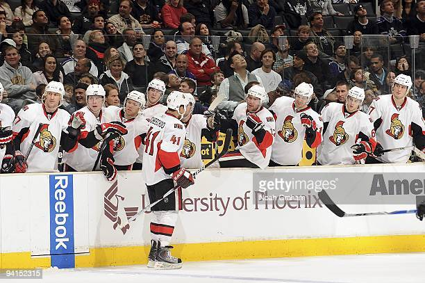 Jonathan Cheechoo of the Ottawa Senators celebrates a goal with his teammates against the Los Angeles Kings during the game on December 3, 2009 at...