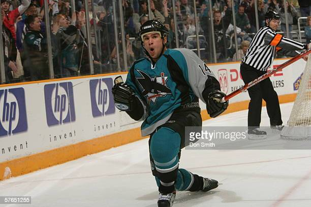 Jonathan Cheechoo of the San Jose Sharks celebrates a goal during a game against the Phoenix Coyotes on April 1 2006 at the HP Pavilion in San Jose...