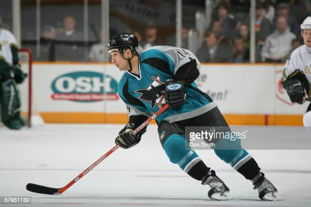Jonathan Cheechoo of the San Jose Sharks skates during a game against the Dallas Stars on April 9, 2006 at the HP Pavilion in San Jose, California....