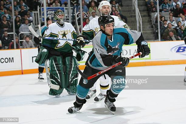 Jonathan Cheechoo of the San Jose Sharks skates during a game against the Dallas Stars on February 10 2006 at the HP Pavilion in San Jose California...