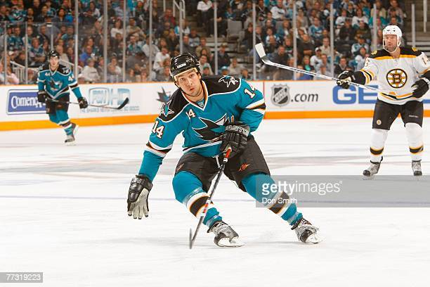 Jonathan Cheechoo of the San Jose Sharks skates on the ice during an NHL game against the Boston Bruins at HP Pavilion at San Jose October 13 2007 in...