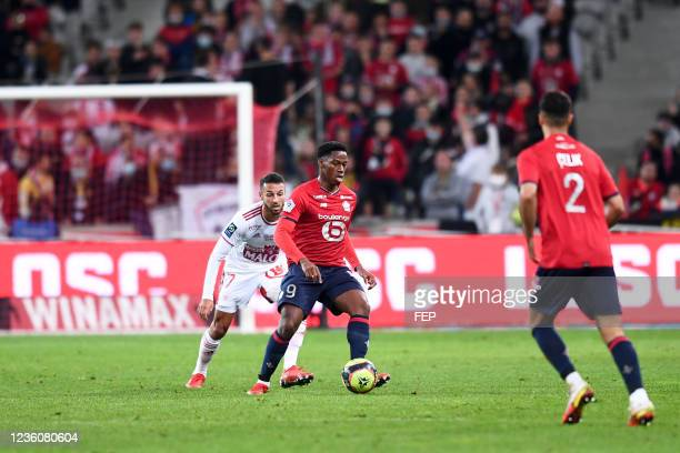 Jonathan Christian DAVID during the Ligue 1 Uber Eats match between Lille and Brest at Stade Pierre Mauroy on October 23, 2021 in Lille, France.