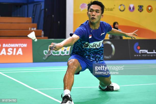 Jonathan Christie of Indonesia competes against Kidambi Srikanth of India during the EPlus Badminton Asia Team Championships 2018 at Sultan Abdul...