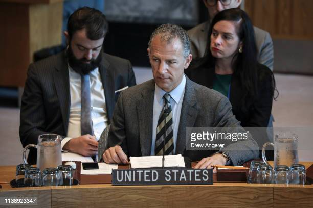 Jonathan Cohen acting US Ambassador to the United Nations attends a United Nations Security Council meeting at UN headquarters April 23 2019 in New...