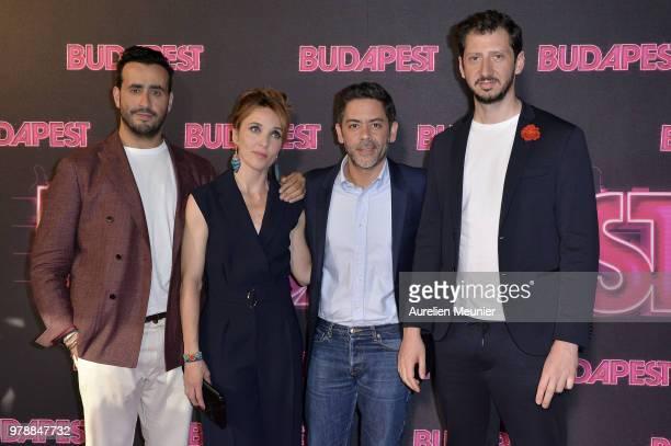 Jonathan Cohen Alix Poisson Manu Payet and Monsieur Poulpe attend the Budapest Paris premiere at cinema Gaumont Opera on June 19 2018 in Paris France