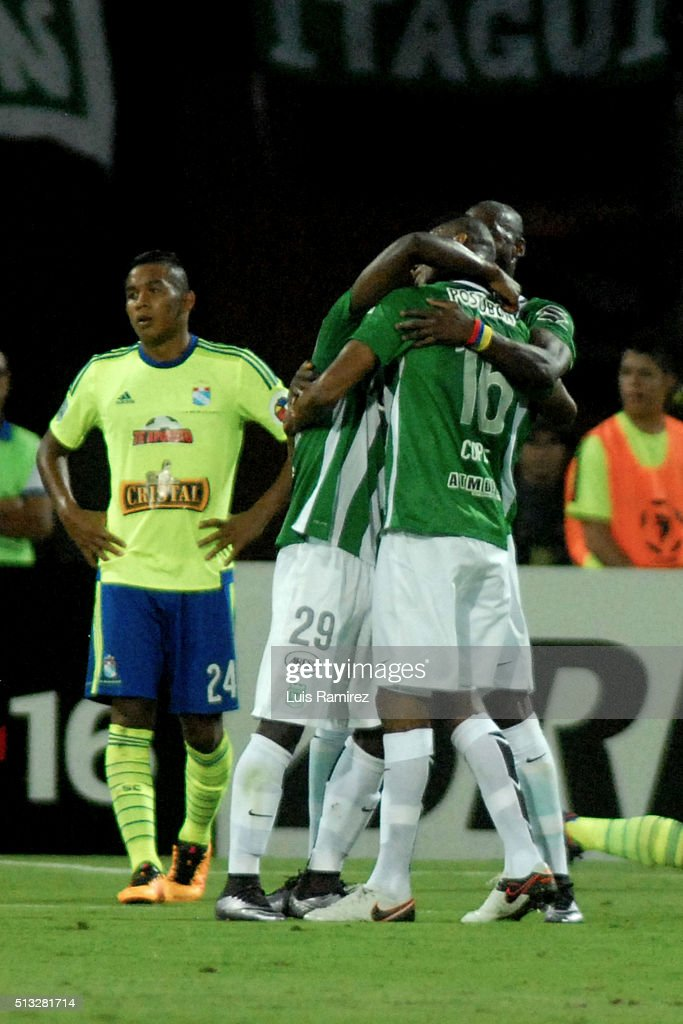 Jonathan Copete of Atletico Nacional celebrates with his teammates a goal of his team during a group stage match between Atletico Nacional and Sporting Cristal as part of Copa Libertadores 2016 at Atanasio Girardot Stadium on March 01, 2016 in Medellin, Colombia.