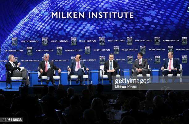 Jonathan Coslet John Danhakl Michael Milken Mitchell Julis Brian Sheth and Steven Tananbaum participate in a panel discussion during the annual...