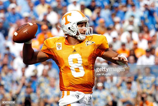 Jonathan Crompton of the Tennessee Volunteers throws against the UCLA Bruins on September 12 2009 at Neyland Stadium in Knoxville Tennessee