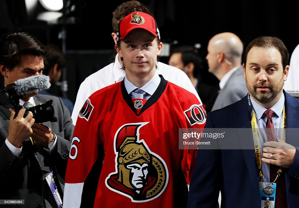 Jonathan Dahlen reacs after being selected 42nd by the POttawa Senators during the 2016 NHL Draft on June 25, 2016 in Buffalo, New York.