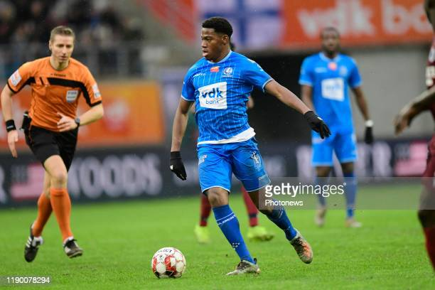 Jonathan David forward of KAA Gent is attacking during the Jupiler Pro League match between KAA Gent and Club Brugge at the Ghelamco Arena on...