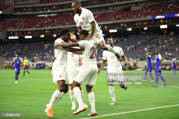 Jonathan David of Canada celebrates after scoring a goal to make it 1-0 during the 2019 CONCACAF Gold Cup Quarter Final match between Haiti v Canada...