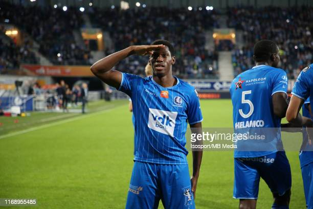 Jonathan David of Kaa Gent celebrates after scoring a goal during the Jupiler Pro League match between KAA Gent and KV Oostende at Ghelamco Arena on...