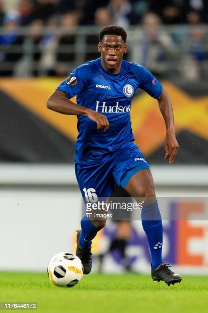 Jonathan David of KAA Gent controls the ball during the UEFA Europa League group I match between KAA Gent and VfL Wolfsburg at Ghelamco Arena on...