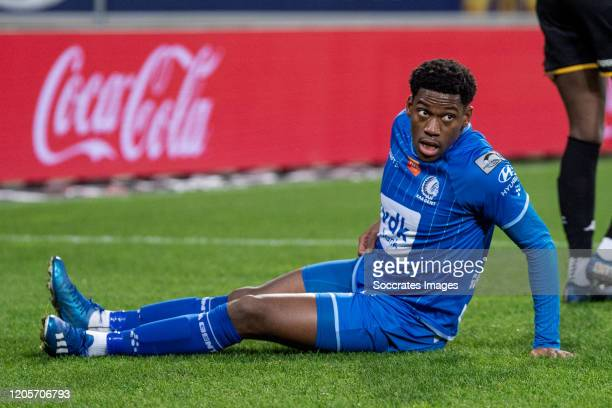 Jonathan David of KAA Gent during the Belgium Pro League match between Gent v Sporting Charleroi at the Ghelamco Arena on March 7, 2020 in Gent...