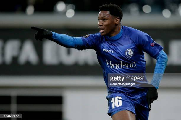 Jonathan David of KAA Gent during the UEFA Europa League match between Gent v AS Roma at the Ghelamco Arena on February 27, 2020 in Gent Belgium