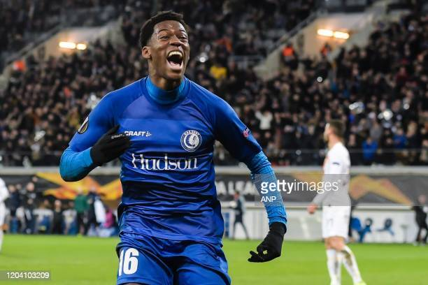 Jonathan David of KAA Gent during the UEFA Europa League round of 32 second leg match between KAA Gent v AS Roma at Ghelamco Arena on February 27,...