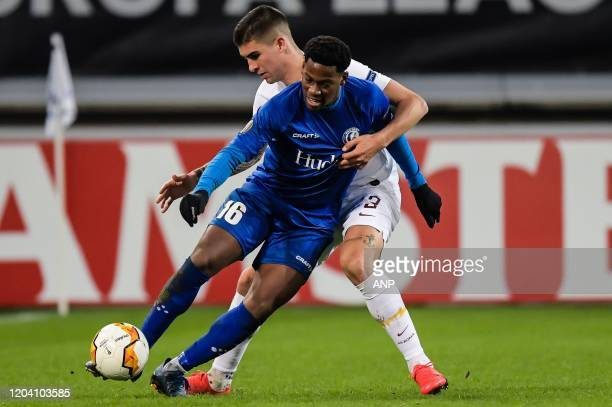 Jonathan David of KAA Gent, Gianluca Mancini of AS Roma during the UEFA Europa League round of 32 second leg match between KAA Gent v AS Roma at...