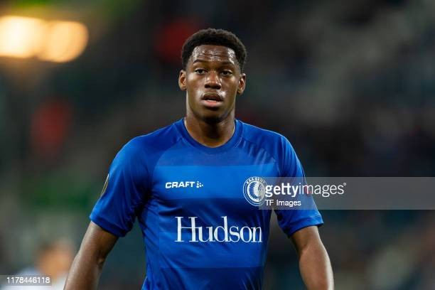 Jonathan David of KAA Gent looks on during the UEFA Europa League group I match between KAA Gent and VfL Wolfsburg at Ghelamco Arena on October 24,...