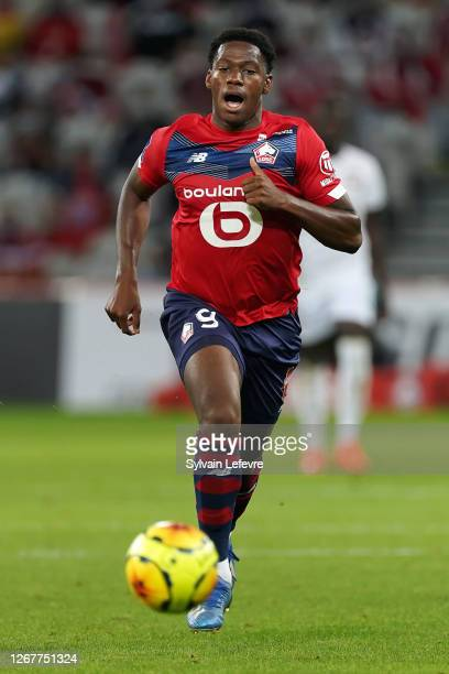 Jonathan David of Lille during the Ligue 1 match between Lille OSC and Stade Rennes at Stade Pierre Mauroy on August 22, 2020 in Lille, France.