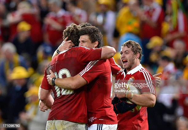 Jonathan Davies and Ben Youngs of the Lions celebrate victory after the First Test match between the Australian Wallabies and the British Irish Lions...