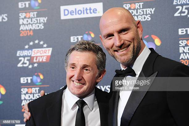Jonathan Davies and Lawrence Dallaglio attend the BT Sport Industry Awards at Battersea Evolution on May 8 2014 in London England