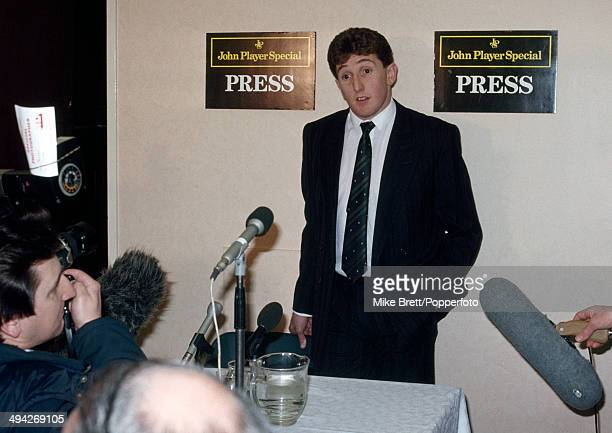 Jonathan Davies answers questions at a press conference announcing his signing for the Widnes Vikings rugby league club on 7th January 1989.