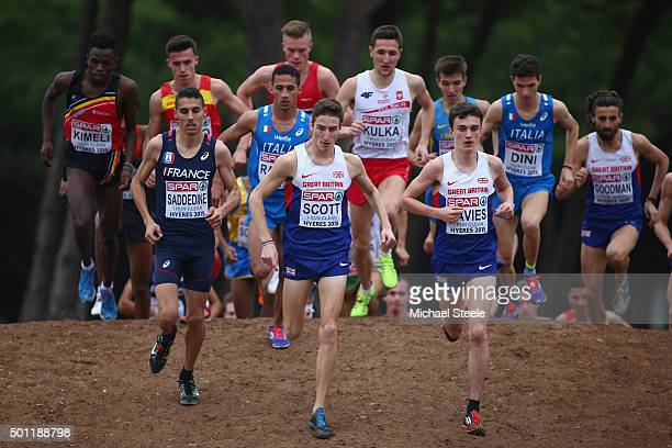 Jonathan Davies of Great Britain eventual winner leads the way alongside team mate Marc Scott in the U23 Men's race during the Spar European Cross...