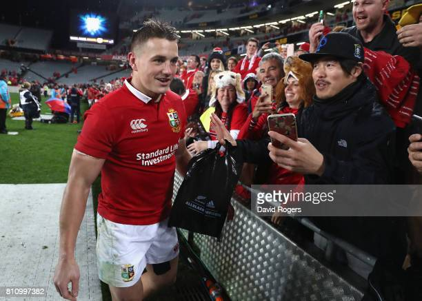 Jonathan Davies of the Lions receives the applause of the Lions fans during the Test match between the New Zealand All Blacks and the British Irish...