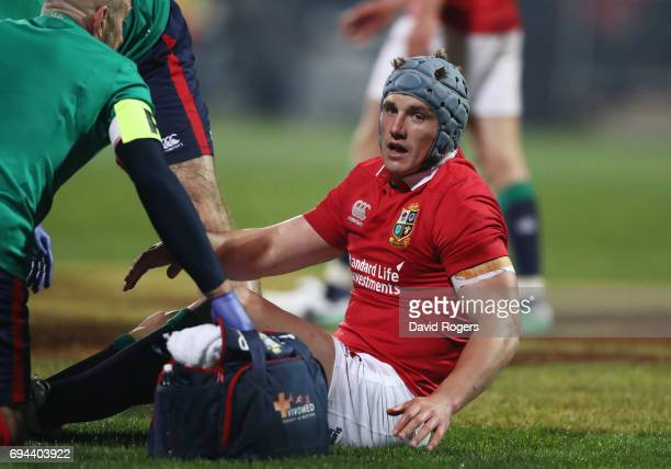 Jonathan Davies of the Lions receives treatment for a head injury during the 2017 British Irish Lions tour match between the Crusaders and the...