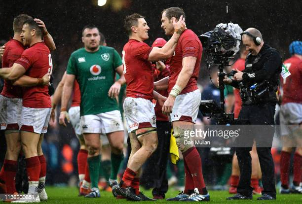 Jonathan Davies of Wales and Alun Wyn Jones of Wales celebrate winning the Grand Slam and Six Nations Championship during the Guinness Six Nations...