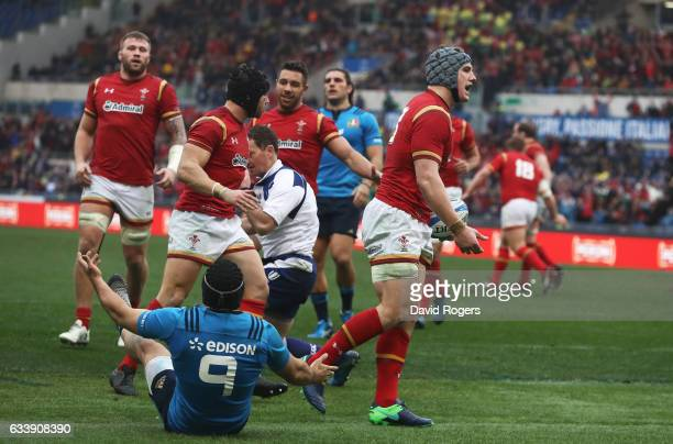 Jonathan Davies of Wales celebrates after scoring his team's first try during the RBS Six Nations match between Italy and Wales at the Stadio...