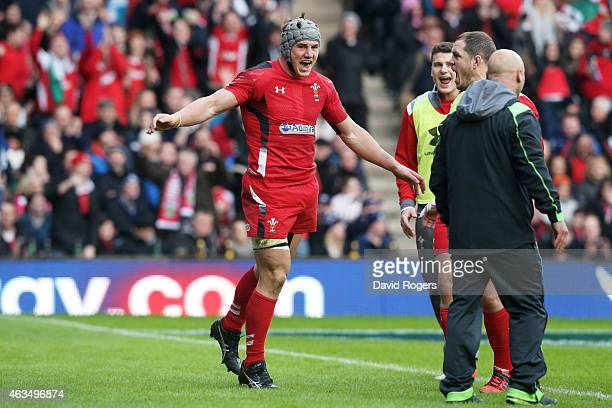 Jonathan Davies of Wales celebrates after scoring his team's second try during the RBS Six Nations match between Scotland and Wales at Murrayfield...