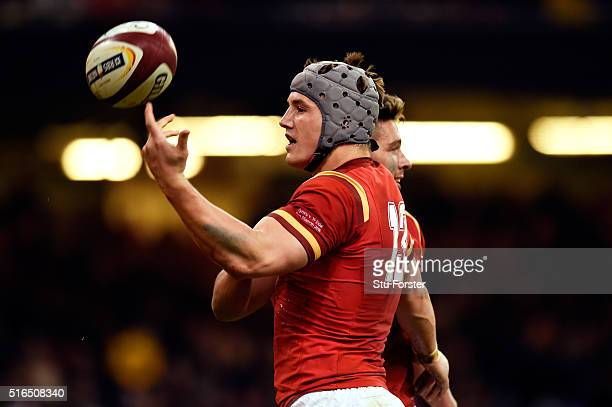 Jonathan Davies of Wales celebrates after scoring his team's third try during the RBS Six Nations match between Wales and Italy at the Principality...
