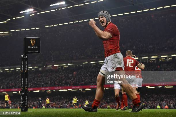 Jonathan Davies of Wales celebrates his sides second try during the Guinness Six Nations match between Wales and England at Principality Stadium on...