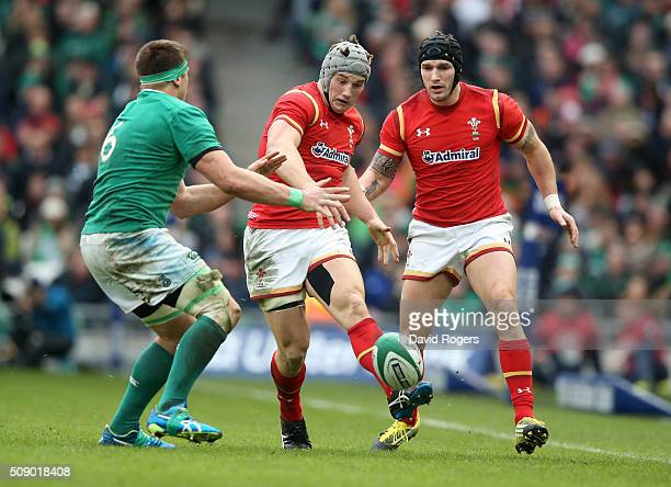Jonathan Davies of Wales kicks the ball upfield during the RBS Six Nations match between Ireland and Wales at the Aviva Stadium on February 7 2016 in...